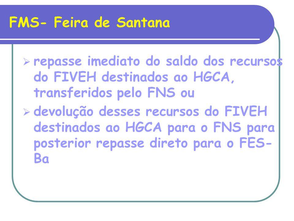 FMS- Feira de Santana repasse imediato do saldo dos recursos do FIVEH destinados ao HGCA, transferidos pelo FNS ou devolução desses recursos do FIVEH destinados ao HGCA para o FNS para posterior repasse direto para o FES- Ba