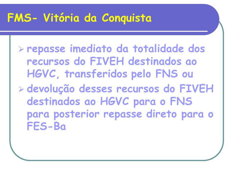 FMS- Vitória da Conquista repasse imediato da totalidade dos recursos do FIVEH destinados ao HGVC, transferidos pelo FNS ou devolução desses recursos do FIVEH destinados ao HGVC para o FNS para posterior repasse direto para o FES-Ba