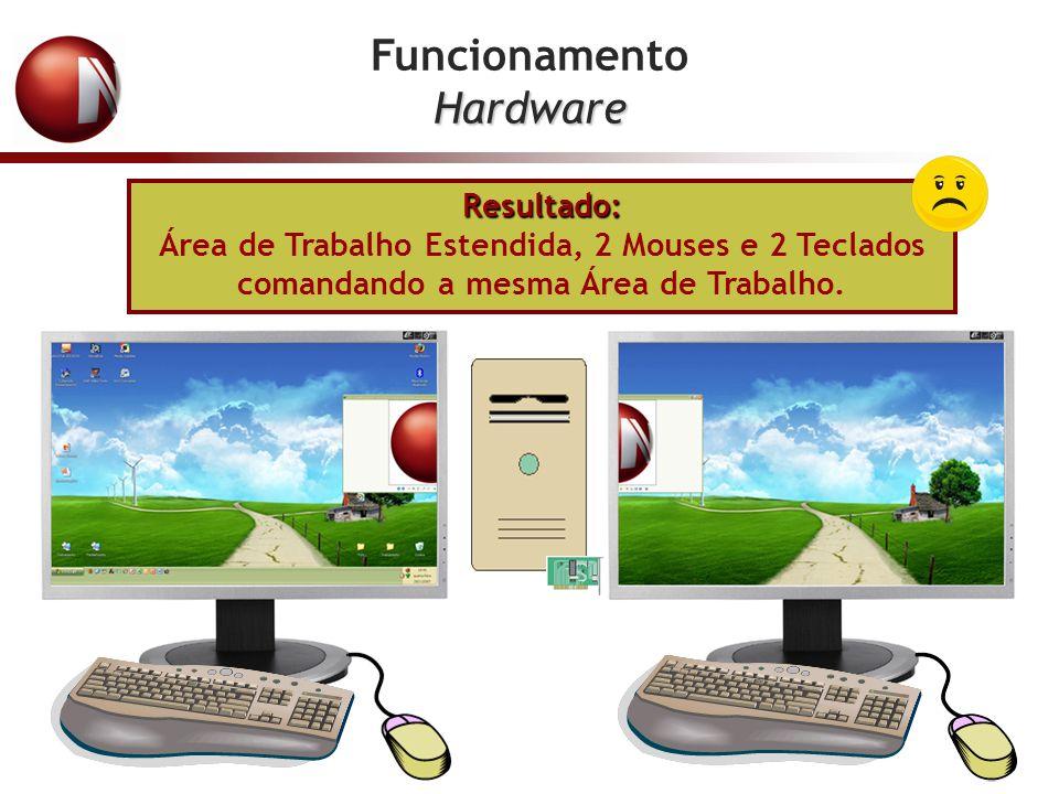FuncionamentoHardware Resultado: Área de Trabalho Estendida, 2 Mouses e 2 Teclados comandando a mesma Área de Trabalho.