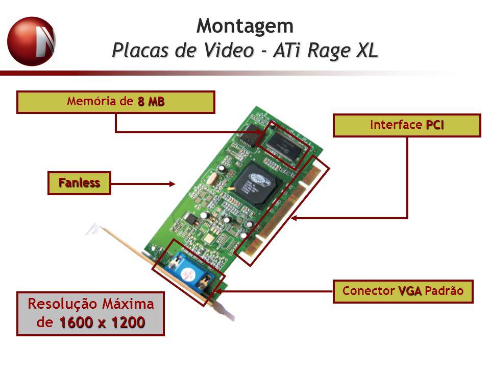 Montagem Placas de Video - ATi Rage XL 8 MB Memória de 8 MB PCI Interface PCI VGA Conector VGA Padrão 1600 x 1200 Resolução Máxima de 1600 x 1200 Fanl