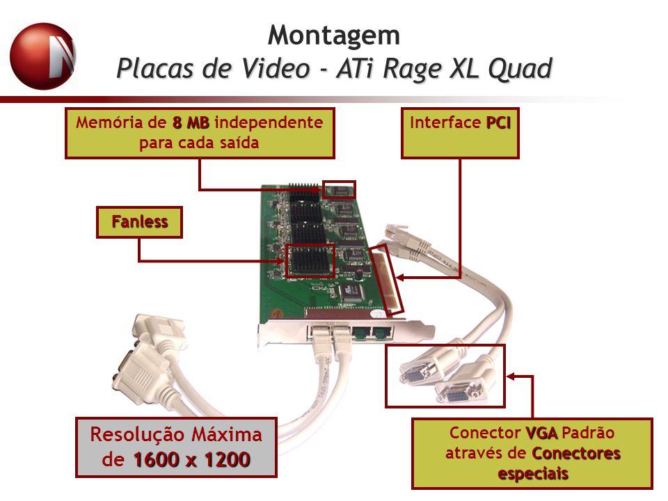 Montagem Placas de Video - ATi Rage XL Quad 8 MB Memória de 8 MB independente para cada saída PCI Interface PCI VGA Conectores especiais Conector VGA