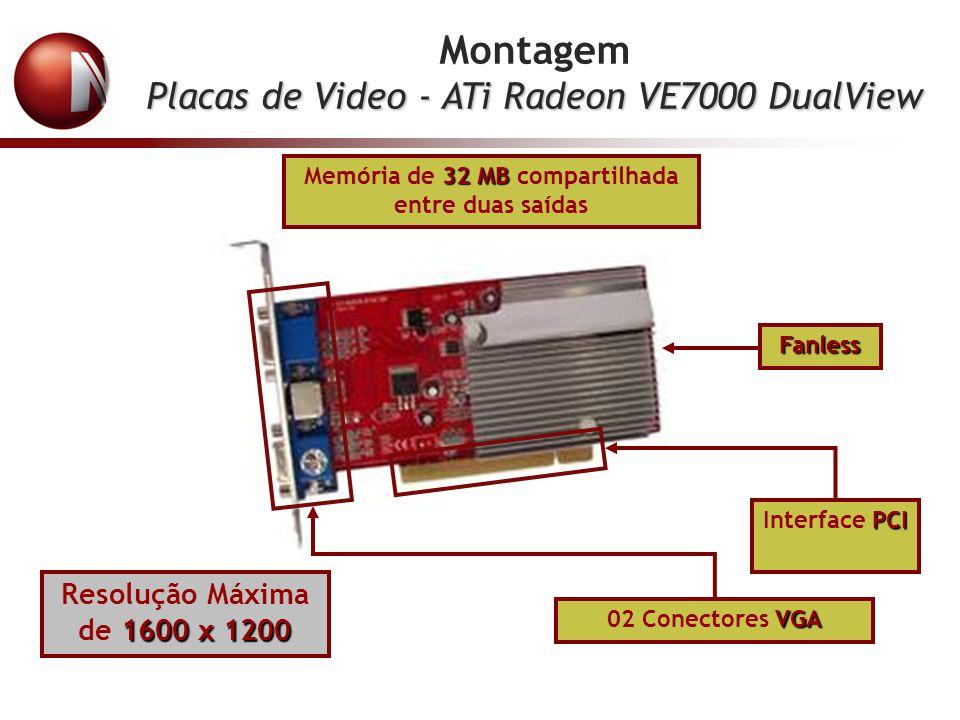 Montagem Placas de Video - ATi Radeon VE7000 DualView 32 MB Memória de 32 MB compartilhada entre duas saídas PCI Interface PCI VGA 02 Conectores VGA 1