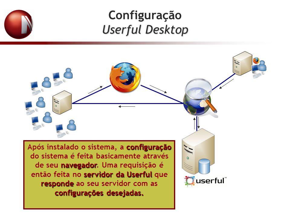 Configuração Userful Desktop configuração navegador servidor da Userful responde configurações desejadas. Após instalado o sistema, a configuração do