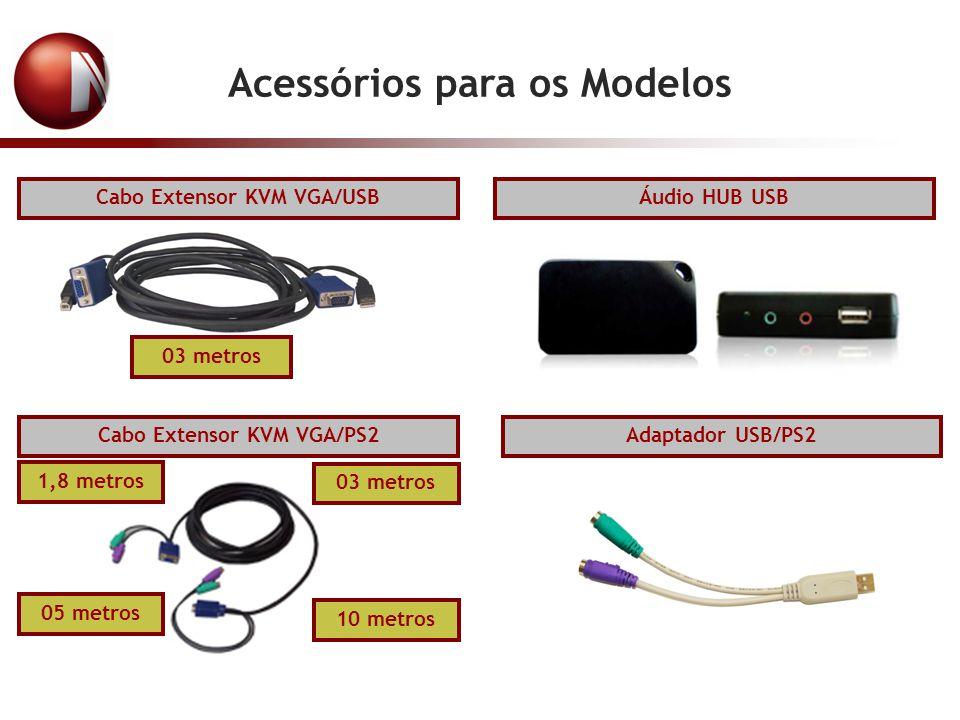 Acessórios para os Modelos Cabo Extensor KVM VGA/USB 03 metros Adaptador USB/PS2 1,8 metros Cabo Extensor KVM VGA/PS2 03 metros 05 metros 10 metros Áu