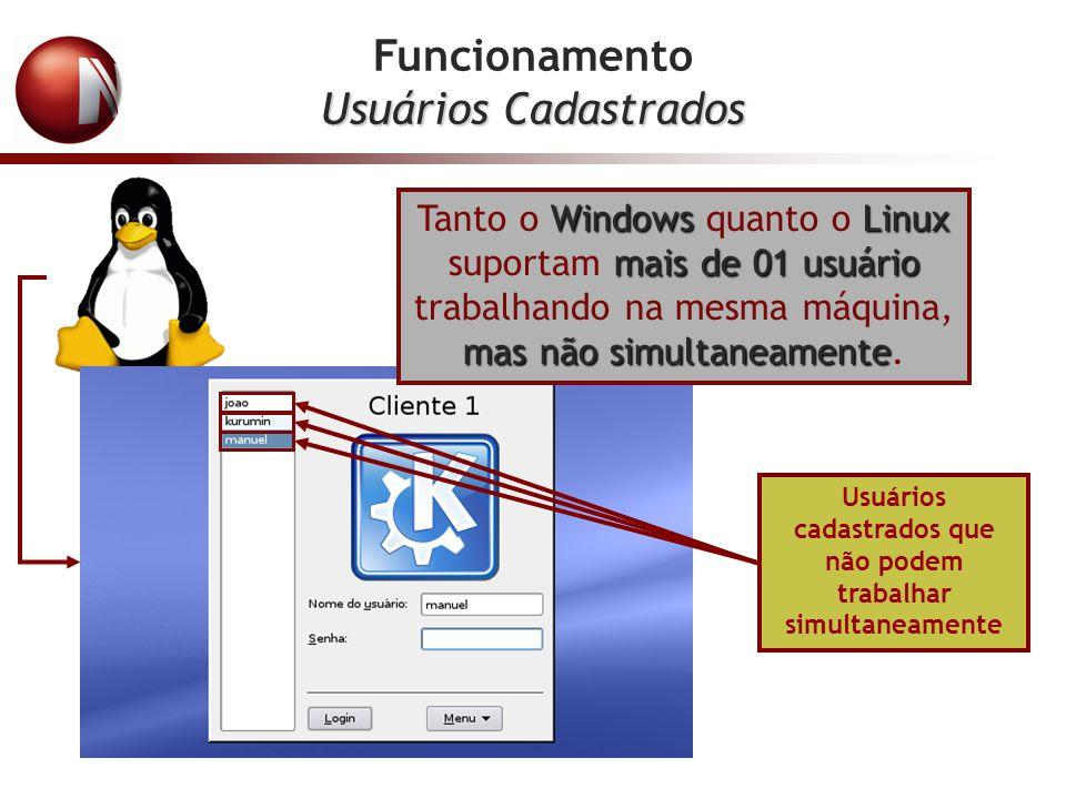 Funcionamento Usuários Cadastrados Usuários cadastrados que não podem trabalhar simultaneamente WindowsLinux mais de 01 usuário masnão simultaneamente