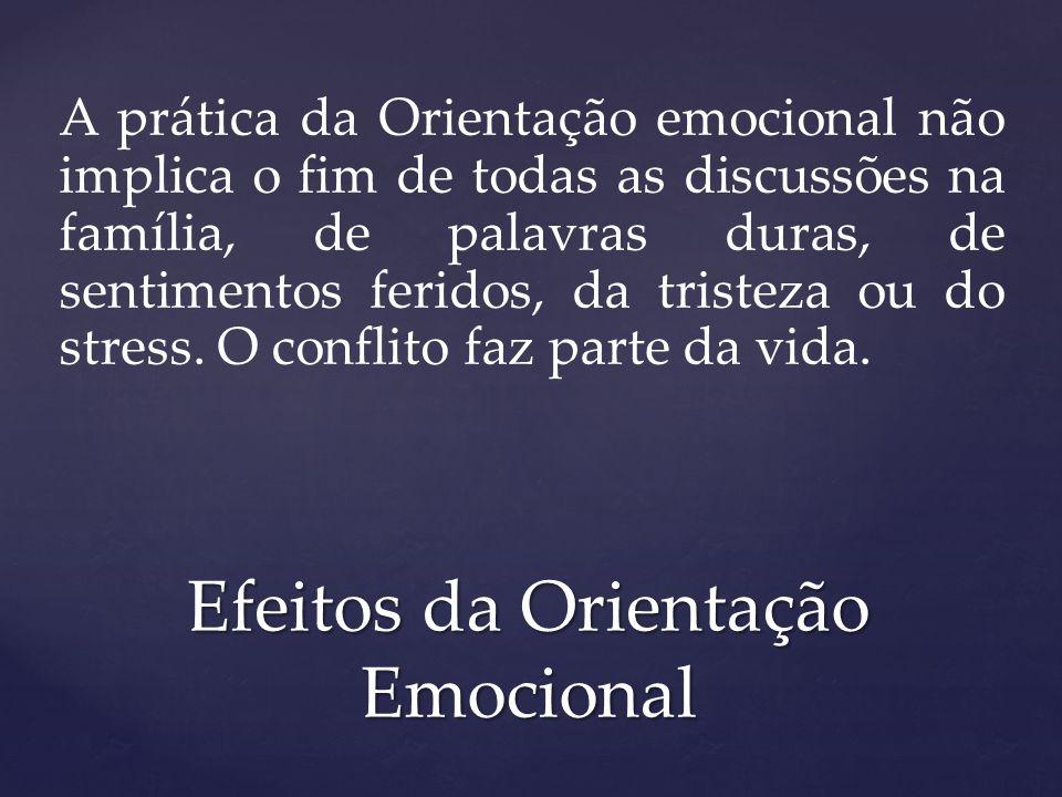 A prática da Orientação emocional não implica o fim de todas as discussões na família, de palavras duras, de sentimentos feridos, da tristeza ou do st