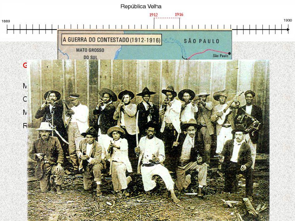 Guerra do Contestado Movimento messiânico na divisa de Paraná e Santa Catarina Contestado: área disputada por Santa Catarina e Paraná Movimento semelh