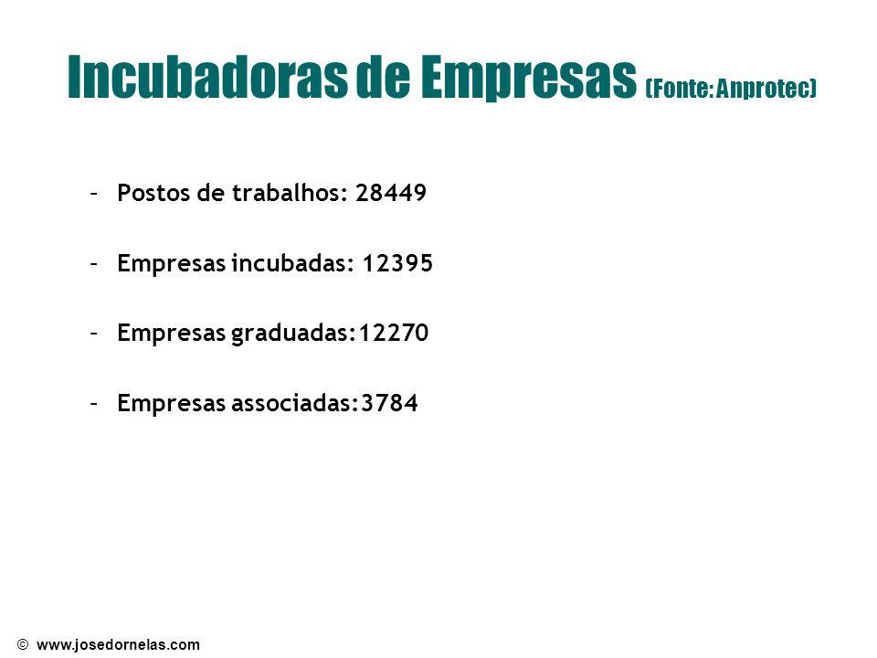 © www.josedornelas.com Incubadoras de Empresas (Fonte: Anprotec) –Postos de trabalhos: 28449 –Empresas incubadas: 12395 –Empresas graduadas:12270 –Empresas associadas:3784