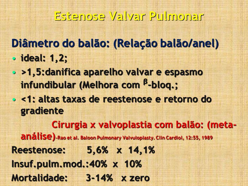 Estenose Valvar Pulmonar Diâmetro do balão: (Relação balão/anel) ideal: 1,2;ideal: 1,2; >1,5:danifica aparelho valvar e espasmo infundibular (Melhora