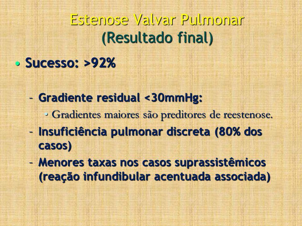 Estenose Valvar Pulmonar (Resultado final) Sucesso: >92%Sucesso: >92% –Gradiente residual <30mmHg: Gradientes maiores são preditores de reestenose.Gra