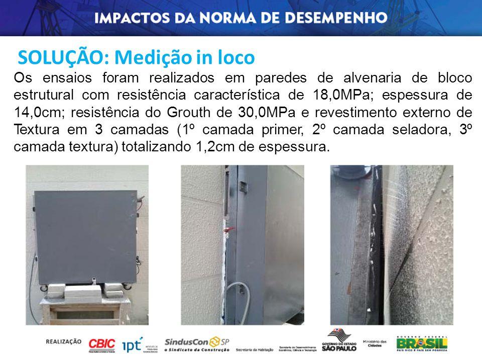 Os ensaios foram realizados em paredes de alvenaria de bloco estrutural com resistência característica de 18,0MPa; espessura de 14,0cm; resistência do
