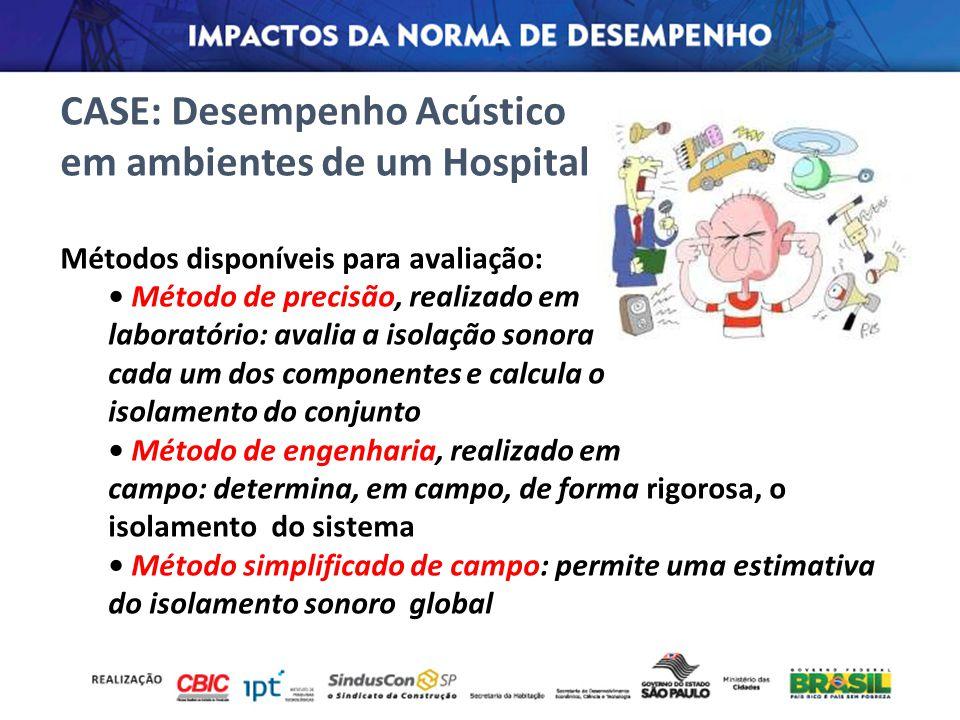 CASE: Desempenho Acústico em ambientes de um Hospital Métodos disponíveis para avaliação: Método de precisão, realizado em laboratório: avalia a isola