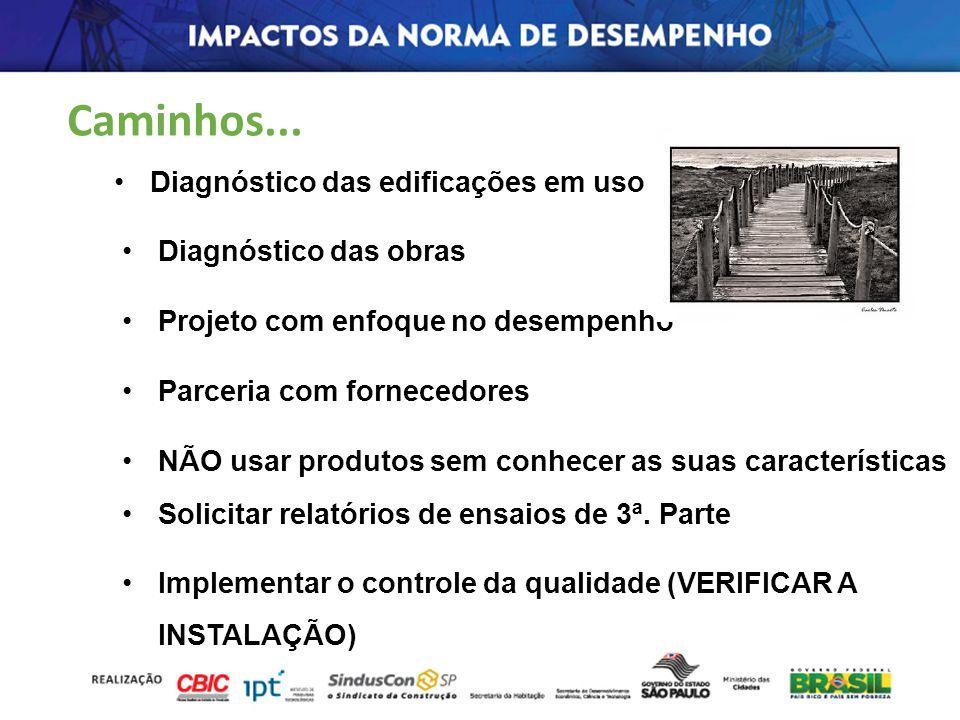 Diagnóstico das edificações em uso Diagnóstico das obras Projeto com enfoque no desempenho Parceria com fornecedores NÃO usar produtos sem conhecer as