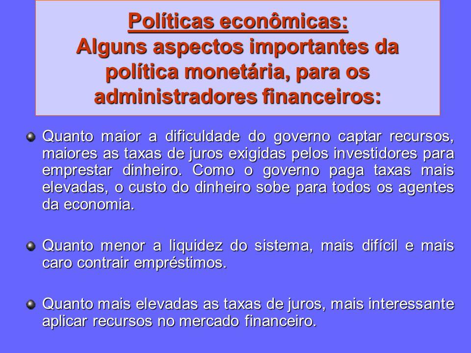 Políticas econômicas: Alguns aspectos importantes da política monetária, para os administradores financeiros: Quanto maior a dificuldade do governo ca