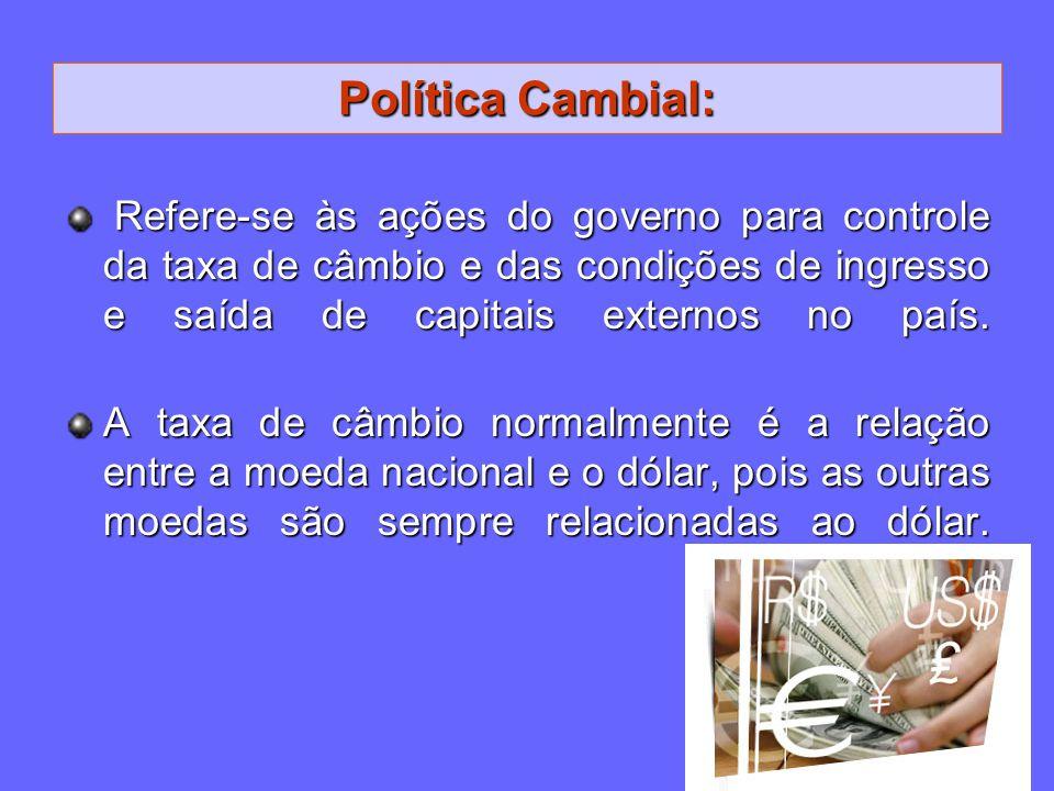 Política Cambial: Refere-se às ações do governo para controle da taxa de câmbio e das condições de ingresso e saída de capitais externos no país. Refe