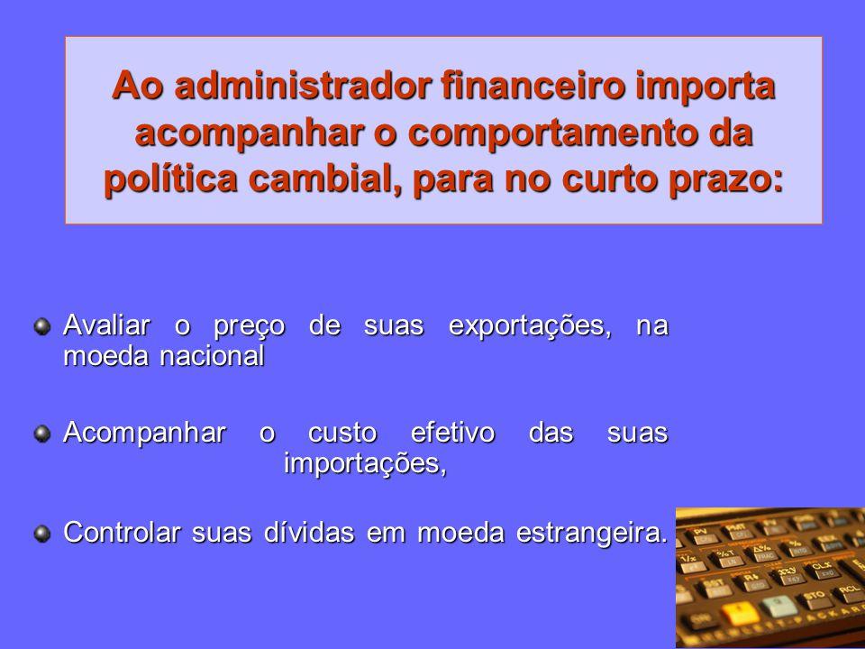 Ao administrador financeiro importa acompanhar o comportamento da política cambial, para no curto prazo: Avaliar o preço de suas exportações, na moeda