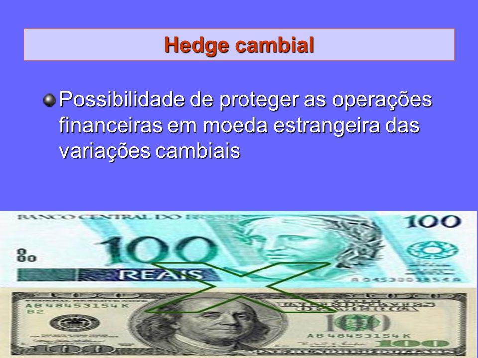 Hedge cambial Possibilidade de proteger as operações financeiras em moeda estrangeira das variações cambiais