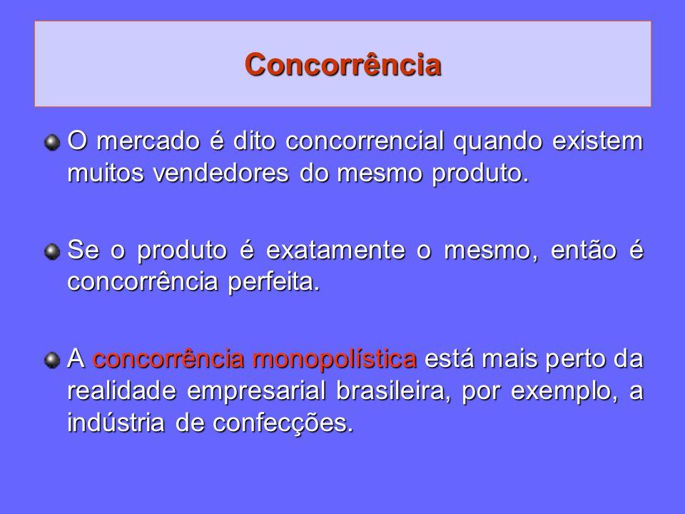 Concorrência O mercado é dito concorrencial quando existem muitos vendedores do mesmo produto. Se o produto é exatamente o mesmo, então é concorrência