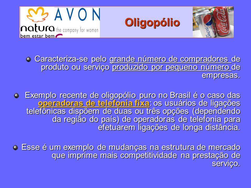 Oligopólio Oligopólio Caracteriza-se pelo grande número de compradores de produto ou serviço produzido por pequeno número de empresas. Exemplo recente