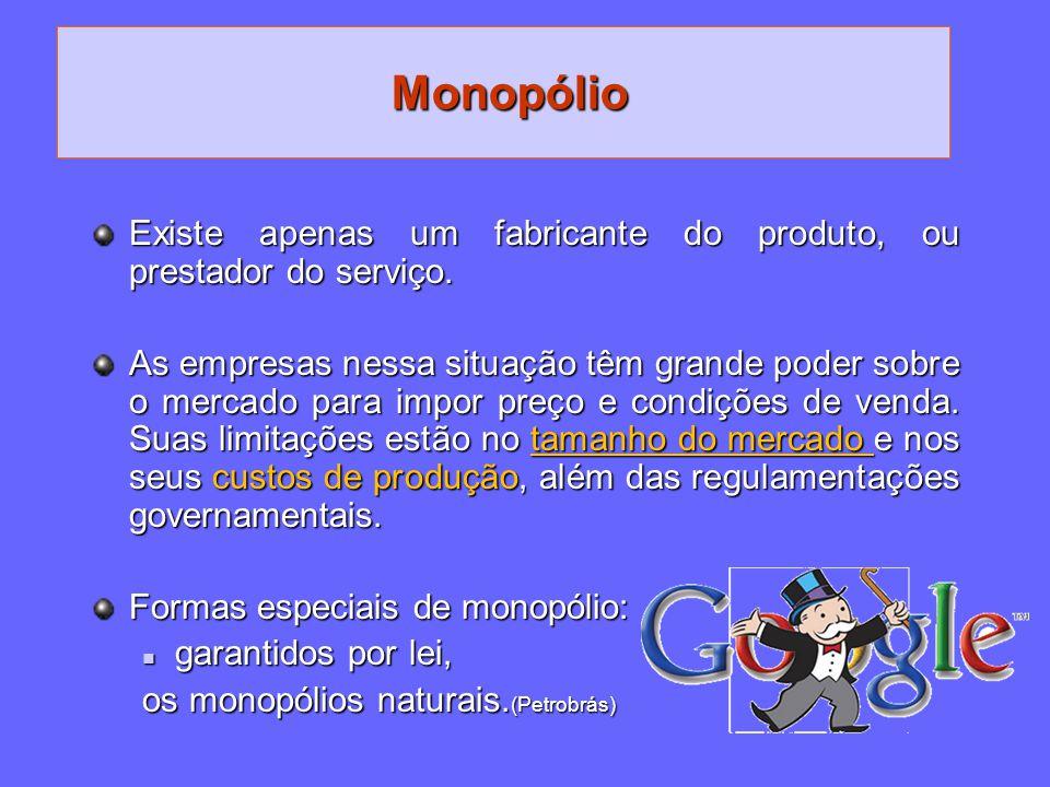 Monopólio Existe apenas um fabricante do produto, ou prestador do serviço. As empresas nessa situação têm grande poder sobre o mercado para impor preç