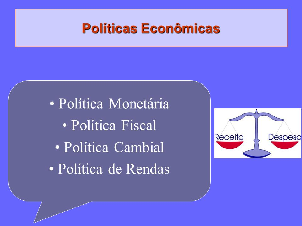 Políticas Econômicas Política Monetária Política Fiscal Política Cambial Política de Rendas