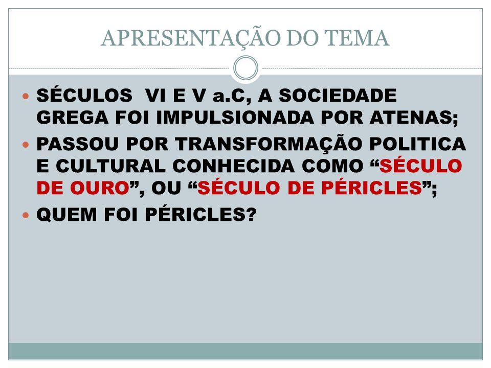 APRESENTAÇÃO DO TEMA SÉCULOS VI E V a.C, A SOCIEDADE GREGA FOI IMPULSIONADA POR ATENAS; PASSOU POR TRANSFORMAÇÃO POLITICA E CULTURAL CONHECIDA COMO SÉCULO DE OURO, OU SÉCULO DE PÉRICLES; QUEM FOI PÉRICLES?