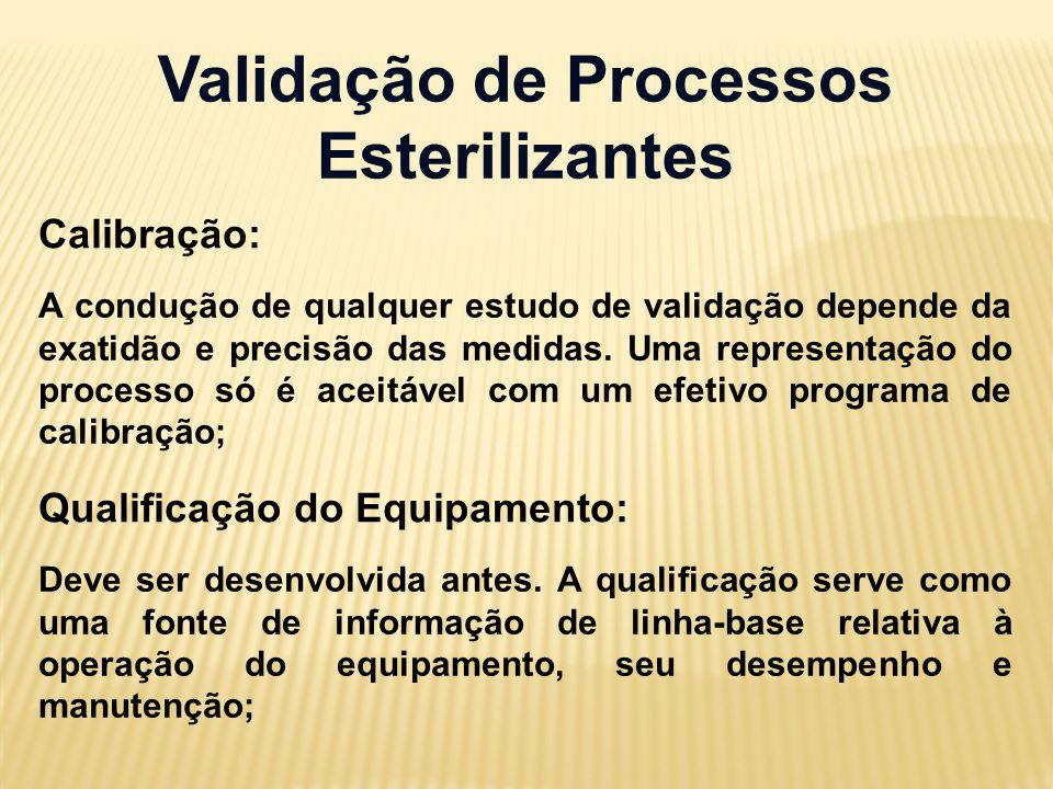 Validação de Processos Esterilizantes Calibração: A condução de qualquer estudo de validação depende da exatidão e precisão das medidas.