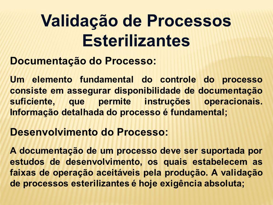Validação de Processos Esterilizantes Documentação do Processo: Um elemento fundamental do controle do processo consiste em assegurar disponibilidade de documentação suficiente, que permite instruções operacionais.