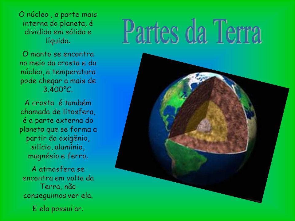 O núcleo, a parte mais interna do planeta, é dividido em sólido e líquido. O manto se encontra no meio da crosta e do núcleo, a temperatura pode chega