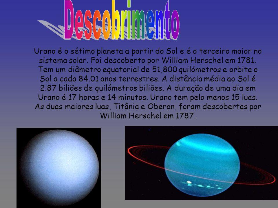 Urano é o sétimo planeta a partir do Sol e é o terceiro maior no sistema solar. Foi descoberto por William Herschel em 1781. Tem um diâmetro equatoria