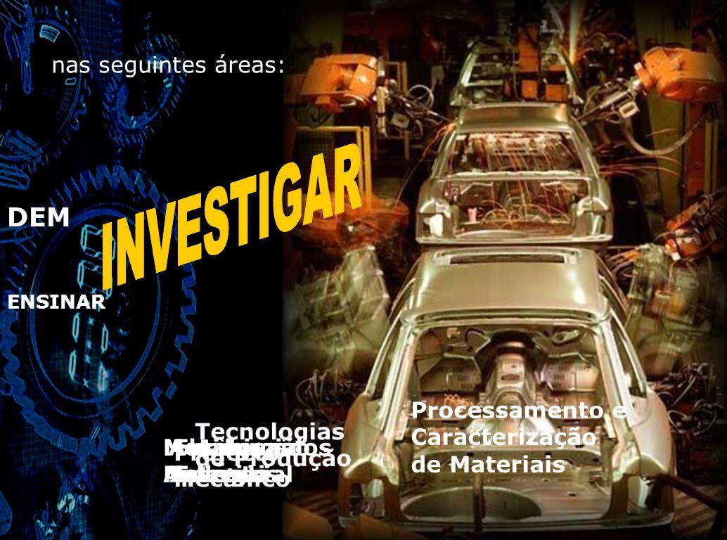 DEM ENSINAR A actividade de investigação do DEM desenvolve- -se no Centro de Engenharia Mecânica da UMinho, de Centros FCT e de Programas de Investigação em Consórcio com Empresas