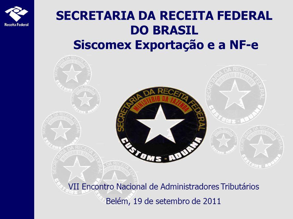 SECRETARIA DA RECEITA FEDERAL DO BRASIL Siscomex Exportação e a NF-e VII Encontro Nacional de Administradores Tributários Belém, 19 de setembro de 2011