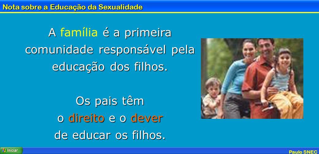 Paulo SNEC Nota sobre a Educação da Sexualidade A é a primeira comunidade responsável pela educação dos filhos. A família é a primeira comunidade resp