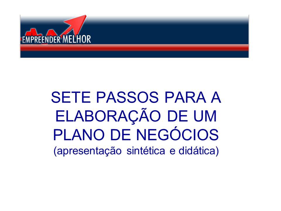 SETE PASSOS PARA A ELABORAÇÃO DE UM PLANO DE NEGÓCIOS (apresentação sintética e didática)