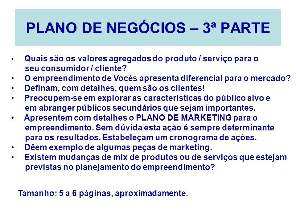 PLANO DE NEGÓCIOS – 3ª PARTE Quais são os valores agregados do produto / serviço para o seu consumidor / cliente? O empreendimento de Vocês apresenta