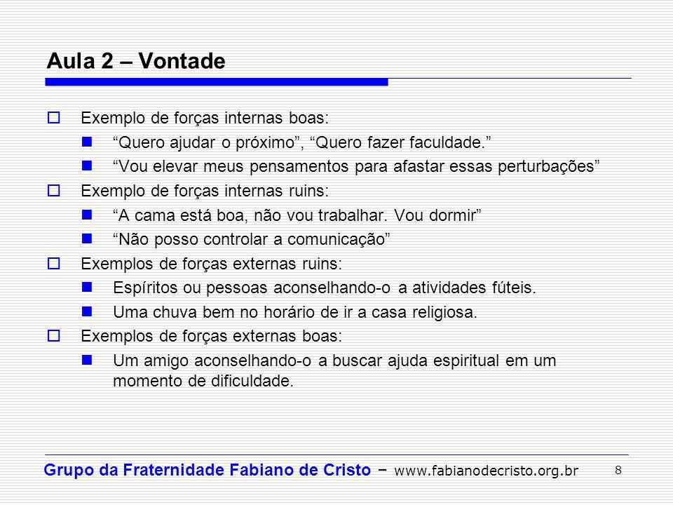 Grupo da Fraternidade Fabiano de Cristo – www.fabianodecristo.org.br 8 Exemplo de forças internas boas: Quero ajudar o próximo, Quero fazer faculdade.