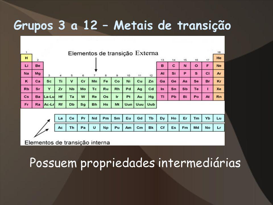Grupos 3 a 12 – Metais de transição Possuem propriedades intermediárias