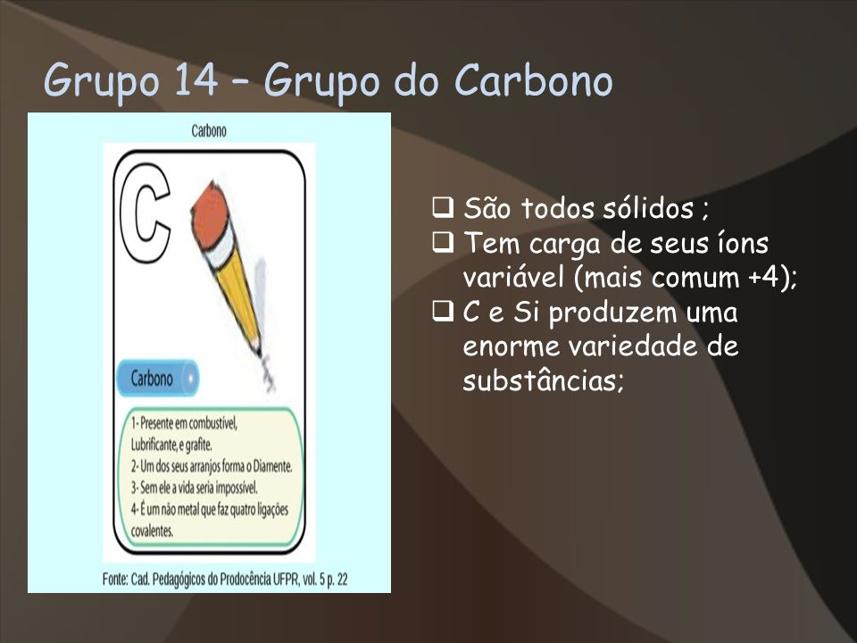 Grupo 14 – Grupo do Carbono São todos sólidos ; Tem carga de seus íons variável (mais comum +4); C e Si produzem uma enorme variedade de substâncias;
