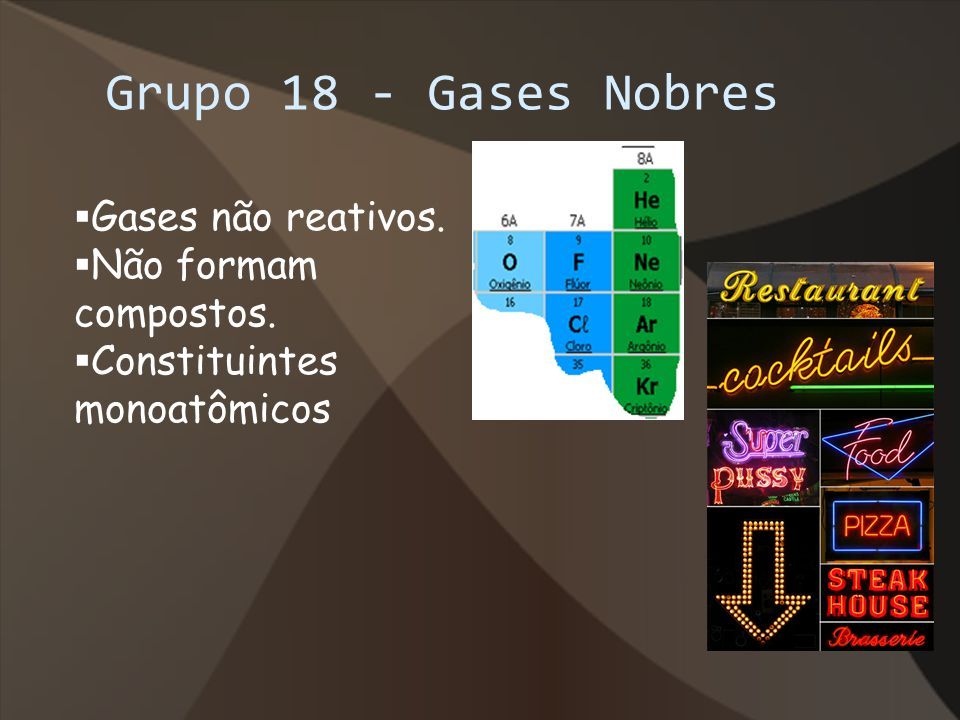 Grupo 18 - Gases Nobres Gases não reativos. Não formam compostos. Constituintes monoatômicos