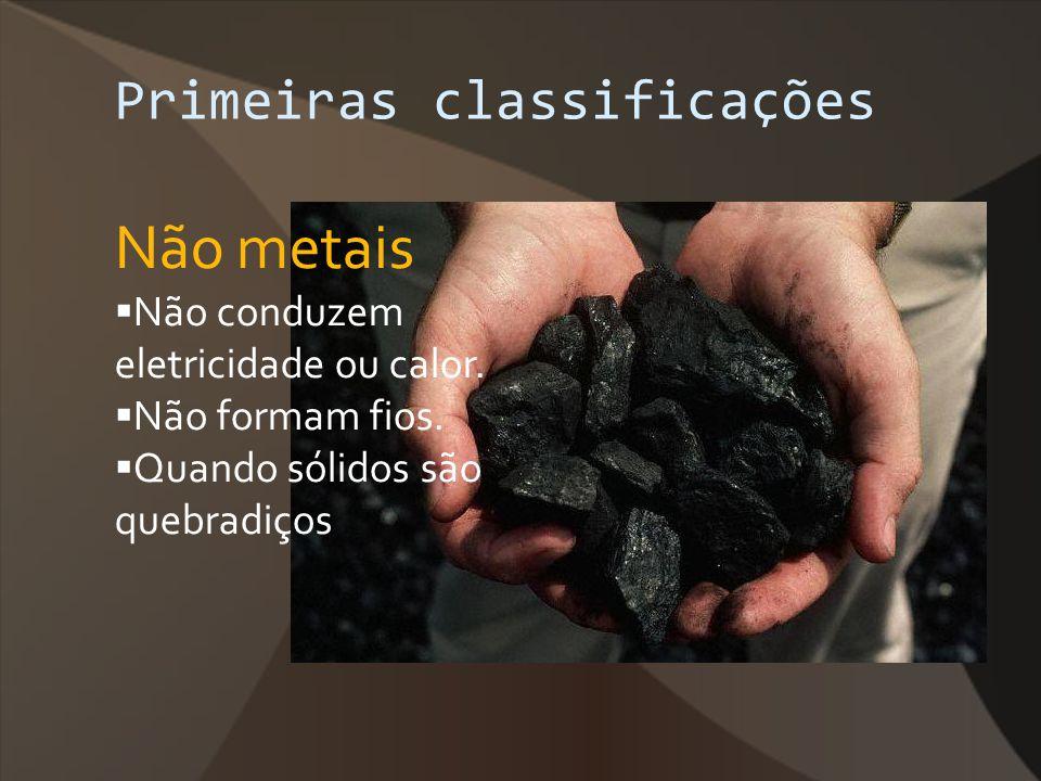 Primeiras classificações Não metais Não conduzem eletricidade ou calor. Não formam fios. Quando sólidos são quebradiços