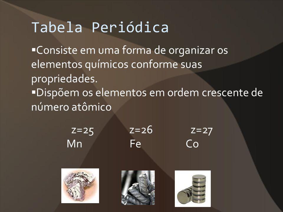 Tabela Periódica Consiste em uma forma de organizar os elementos químicos conforme suas propriedades. Dispõem os elementos em ordem crescente de númer
