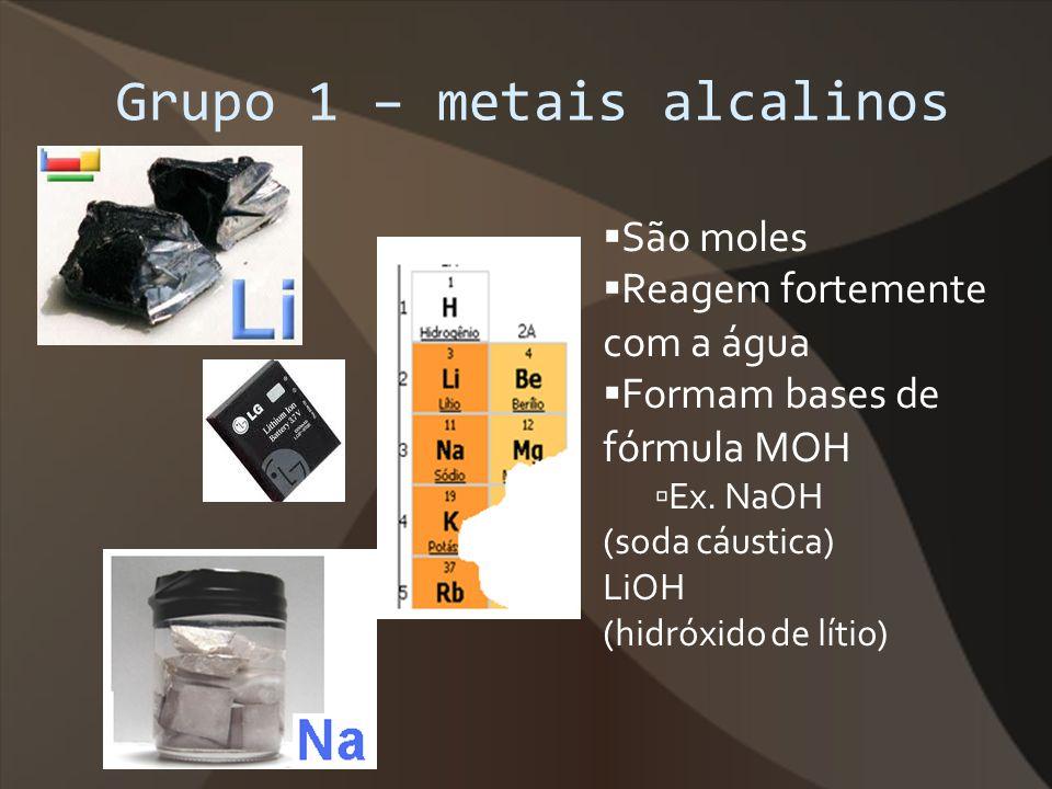 Grupo 1 – metais alcalinos São moles Reagem fortemente com a água Formam bases de fórmula MOH Ex. NaOH (soda cáustica) LiOH (hidróxido de lítio)