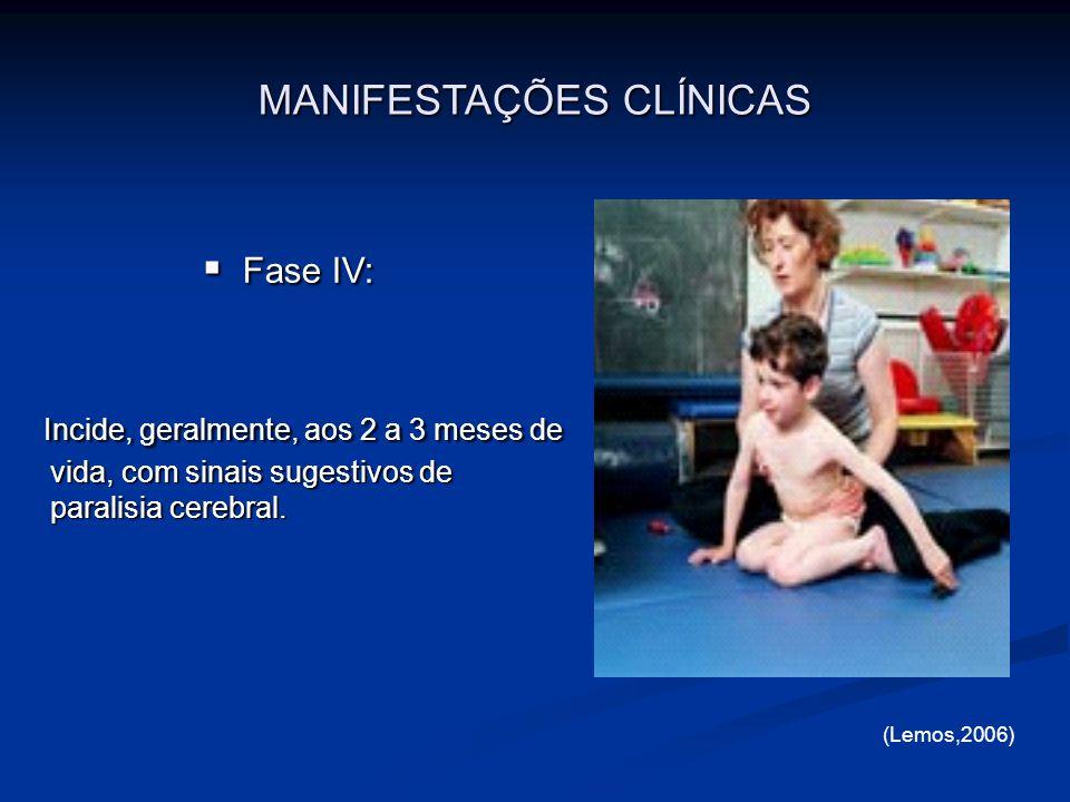 Fase IV: Fase IV: Incide, geralmente, aos 2 a 3 meses de vida, com sinais sugestivos de paralisia cerebral. Incide, geralmente, aos 2 a 3 meses de vid