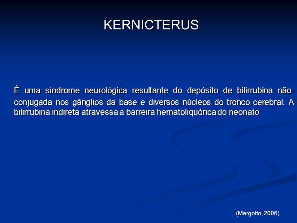 KERNICTERUS KERNICTERUS É uma síndrome neurológica resultante do depósito de bilirrubina não- conjugada nos gânglios da base e diversos núcleos do tro