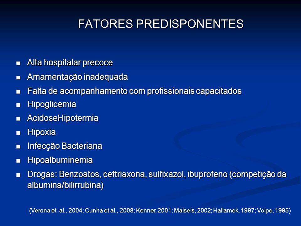 BILIRRUBINA TOTAL EM RECÉM NASCIDO 10,0 mg/dL15,0 mg/dL7 DIAS 12,0 mg/dL15,0 mg/dL3 a 5 DIAS 10,0 mg/dL12,0 mg/dL< 48 HORAS 6,0 mg/dL8,0 mg/dL< 24 HORAS 2,5 mg/dL2,9 mg/dLCORDÃO A TERMOPREMATUROIDADE (Pardini, 2005)