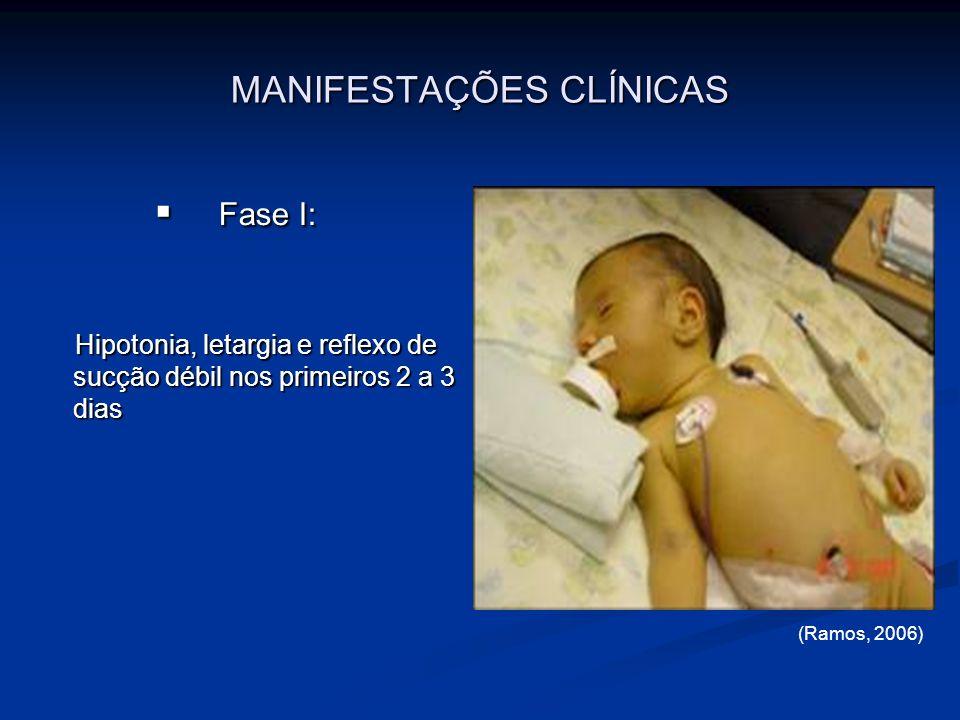 MANIFESTAÇÕES CLÍNICAS Fase I: Fase I: Hipotonia, letargia e reflexo de sucção débil nos primeiros 2 a 3 dias Hipotonia, letargia e reflexo de sucção
