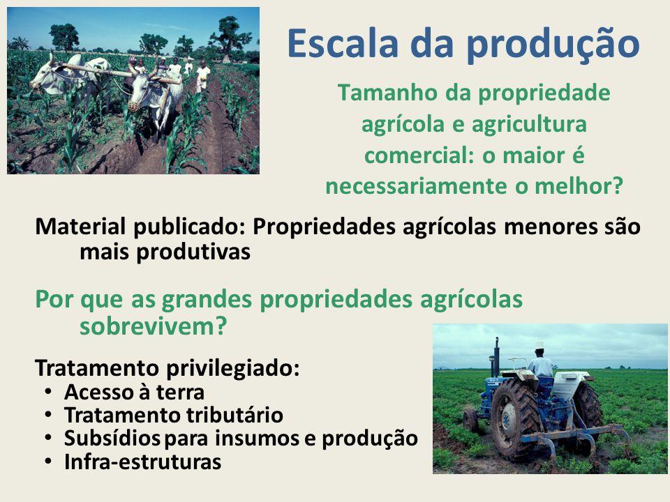 Escala da produção Material publicado: Propriedades agrícolas menores são mais produtivas Por que as grandes propriedades agrícolas sobrevivem? Tratam