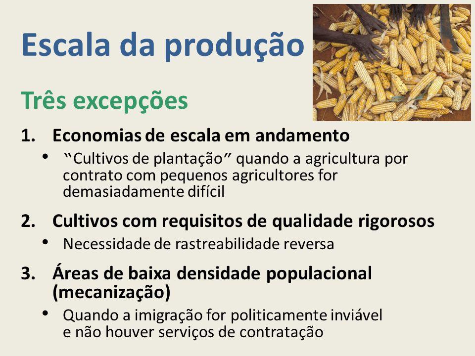 Escala da produção Três excepções 1.Economias de escala em andamento Cultivos de plantação quando a agricultura por contrato com pequenos agricultores