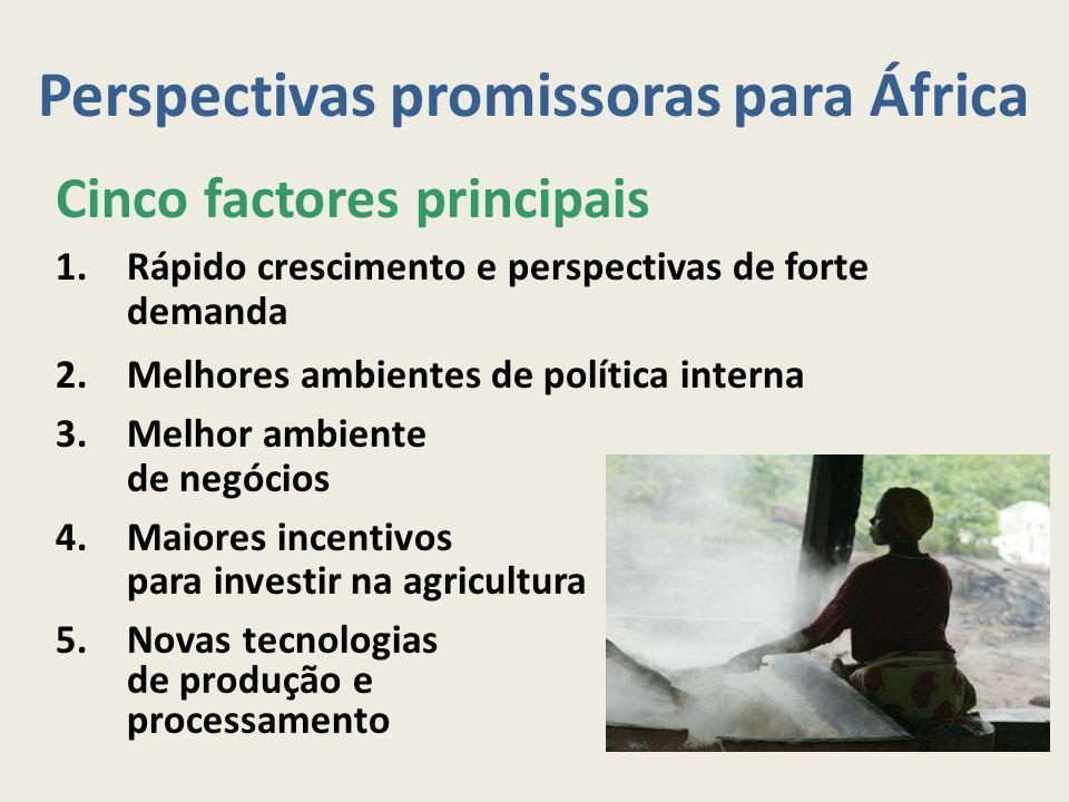 Perspectivas promissoras para África Cinco factores principais 1.Rápido crescimento e perspectivas de forte demanda 2.Melhores ambientes de política i