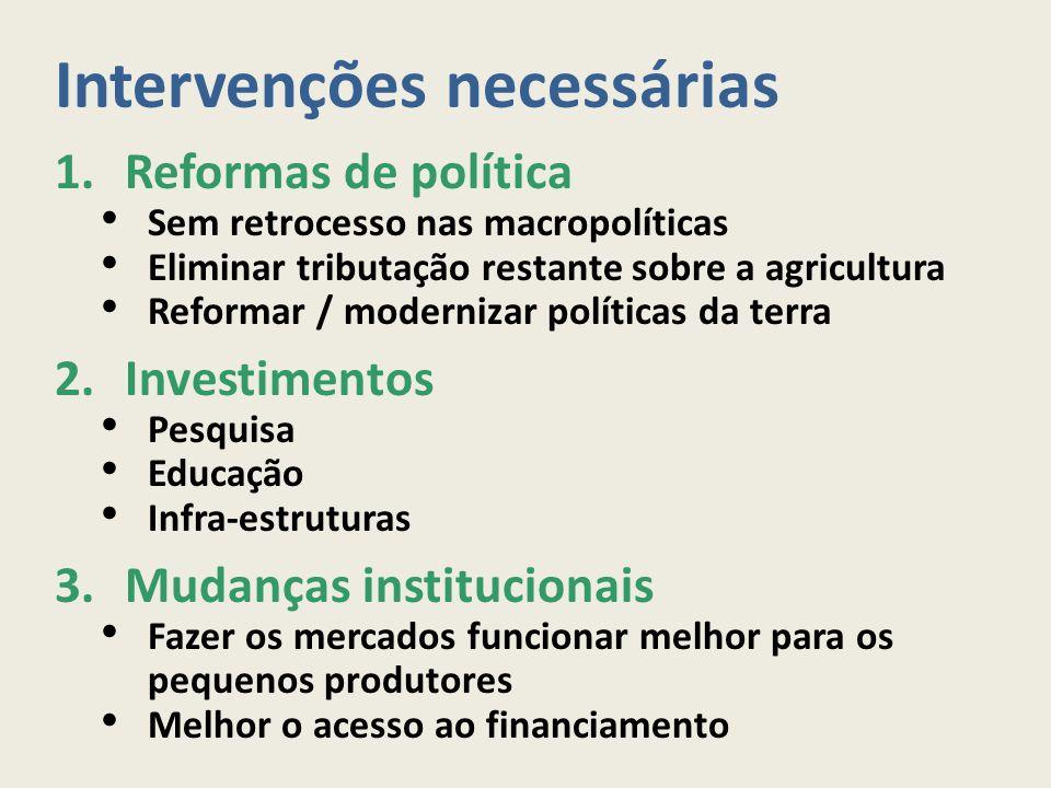 Intervenções necessárias 1.Reformas de política Sem retrocesso nas macropolíticas Eliminar tributação restante sobre a agricultura Reformar / moderniz